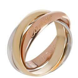 Cartier 18K Three Tone Gold Classic Trinity Ring Size 46