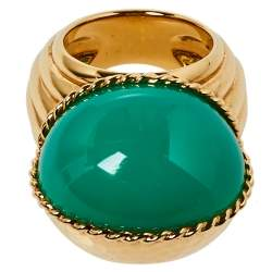 Cartier Paris Nouvelle Vague Chrysoprase 18K Yellow Gold Cocktail Ring Size 54