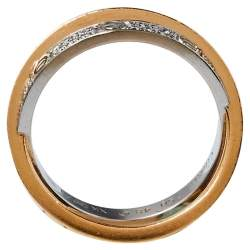 Cartier Love Diamond 18K Two Tone Gold Double Band Ring Size 48