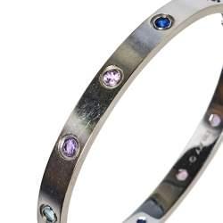 Cartier Love  Multicolor Gemstones 18K White Gold Bracelet 17