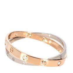 Cartier Rose Gold & White Gold 0.75 CTW Diamond Double LOVE Bracelet