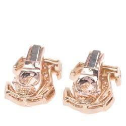Cartier Double C 18K Yellow Gold Diamond Earrings