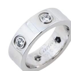 Cartier Love 6 Diamond 18K White Gold Ring Size 47