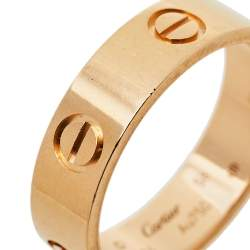 Cartier Love 18K Rose Gold Band Ring Size 58