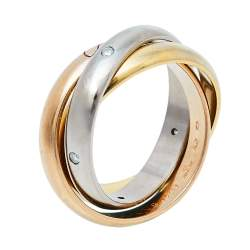 Cartier Trinity Diamond 18K Three Tone Gold Ring Size 51