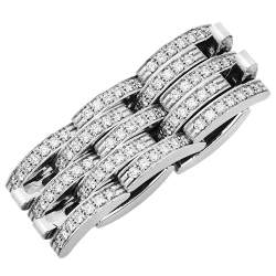 Cartier Maillon Panthère Diamond 18K White Gold 5 Row Ring Size 50