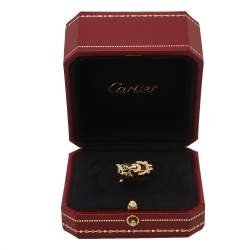 Cartier Panthere de Cartier Diamond Lacquer Garnet 18k Yellow Gold Ring Size 50