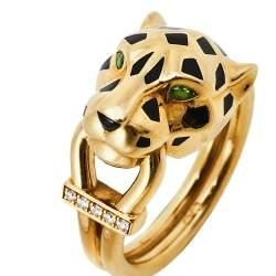 Cartier Panthere de Cartier Diamond Lacquer Garnet 18k Yellow Gold Ring Size 50