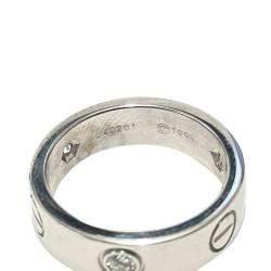 Cartier 18K White Gold 3 Diamond Love Ring Size EU 51