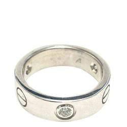Cartier 18K White Gold 3 Diamond Love Ring Size EU 50