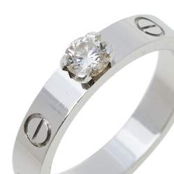 Cartier Love Solitaire 0.23ct Diamond 18K White Gold Band Ring Size 52