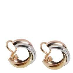 Cartier Trinity 18K Yellow Rose White Gold Earrings