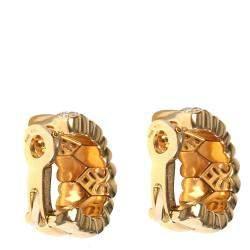 Cartier Symbols & Hearts Diamond Hoop 18K Yellow Gold Earrings