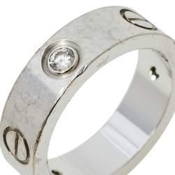 Cartier Love 18K White Gold Diamond Wedding Band Ring Size 52