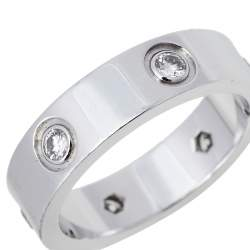 Cartier Love 6 Diamond 18K White Gold Band Ring Size 57