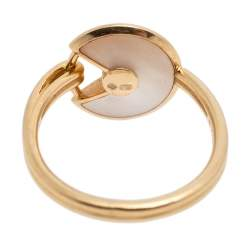 Cartier Amulette de Cartier Diamond Mother of Pearl 18K Yellow Gold Ring Size 51