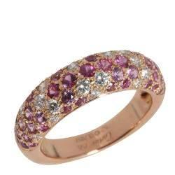 Cartier Etincelle Pink Sapphire Diamond 18K Rose Gold Ring Size EU 52