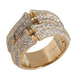 Cartier Bamboo Diamond 18K Yellow Gold Cocktail Ring Size EU 55