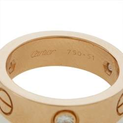 Cartier Love 3 Diamond 18K Rose Gold Band Ring 51