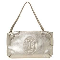 Cartier Gold Leather Marcello de Cartier Wristlet Clutch
