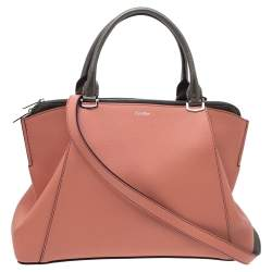 Cartier Coral/Olive Green Leather C De Cartier Small Tote