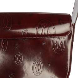 Cartier Burgundy Logo Embossed Patent Leather Flap Hobo