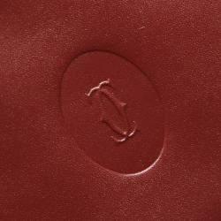 Cartier Burgundy Leather Must De Cartier Bi-fold Wallet
