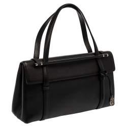 Cartier Black Leather Happy Birthday Cabochon Flap Bag