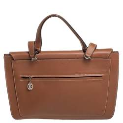Cartier Brown Leather Marcello Flap Top Handle Bag