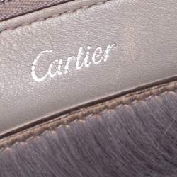 Cartier Grey Leather and Shearling Mini C De Cartier Tote
