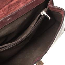 Cartier Burgundy Patent Leather/Suede and Python Feminine Line Top Handle Bag