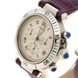Cartier White Stainless Steel Pasha De Cartier 1050 Women's Wristwatch with Alligator Strap 38 mm
