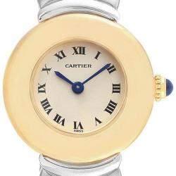 ساعة يد نسائية كارتييه كاسك 1335 ذهب أصفر عيار 18 فضية 24 مم