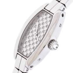 Cartier Diamond Pave 18K White Gold Laniere Tonneau 2545 Women's Wristwatch 16 mm