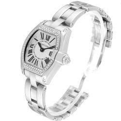 Cartier Silver Diamonds Pave 18K White Gold Roadster WE5002X2 Women's Wristwatch 36 x 30 MM
