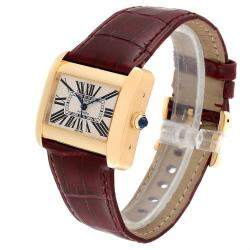 Cartier Silver 18K Yellow Gold And Sapphire Tank Divan W6300856 Women's Wristwatch 38x30 MM