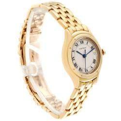 Cartier Silver 18K Yellow Gold Panthere Cougar 887906 Women's Wristwatch 26 MM