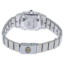 Cartier White 18K Yellow Gold Stainless Steel Santos Galbee Automatic Women's Wristwatch 24 mm