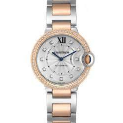 Cartier Silver Diamonds 18K Rose Gold And Stainless Steel Ballon Blue WE902078 Women's Wristwatch 36 MM