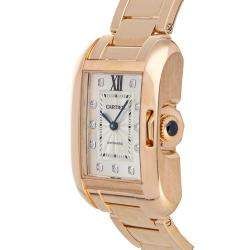 Cartier Silver Diamonds 18K Rose Gold Tank Anglaise WJTA0005 Women's Wristwatch 39 x 30 MM