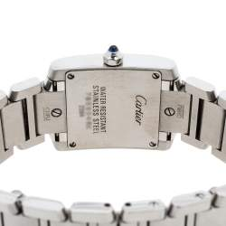 Cartier Metallic White Stainless Steel Tank Francaise Women's Wristwatch 20 mm
