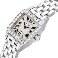 Cartier Silver Diamonds 18K White Gold And Stainless Steel Santos Demoiselle WF9005Y8 Women's Wristwatch 24 x 24 MM