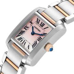 Cartier Pink MOP 18K Rose Gold And Stainless Steel Tank Francaise W51027Q4 Women's Wristwatch 20 x 25 MM
