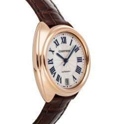 Cartier Silver 18K Rose Gold Cle De Cartier WGCL0013 Women's Wristwatch 35 MM