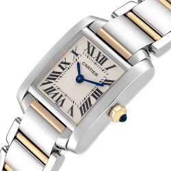 Cartier Silver 18K Yellow Gold And Stainless Steel Tank Francaise W51007Q4 Women's Wristwatch 20 x 25 MM