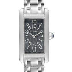 Cartier Grey 18K White Gold Tank Americaine 1713 Women's Wristwatch 19 x 35 MM