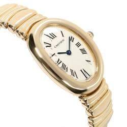 Cartier White 18K Yellow Gold Baignoire 1954 Women's Wristwatch 23 MM