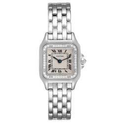 Cartier Silver Diamonds 18k White Gold Panthere WF3091F3 Women's Wristwatch 22 x 22 MM