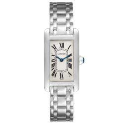 Cartier White 18K White Gold Tank Americaine W26015K2 Women's Wristwatch 19 x 35 MM