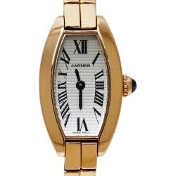 Cartier Silver 18K Rose Gold Lanieres 2592 Women's Wristwatch 16MM